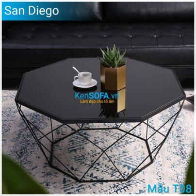 Bàn sofa T08 San Diego mặt kiếng