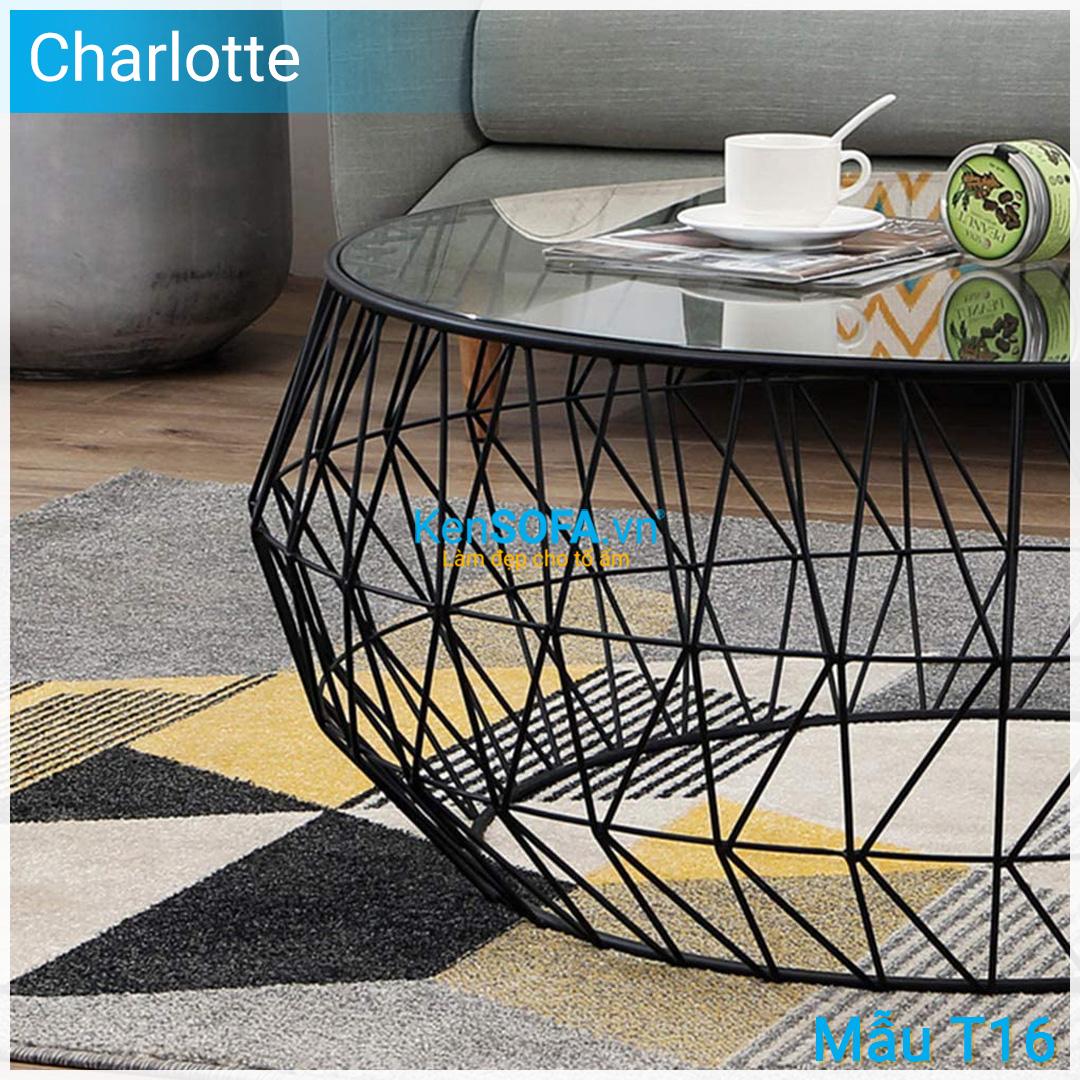 Bàn sofa T16 Charlotte - Mặt kiếng tròn