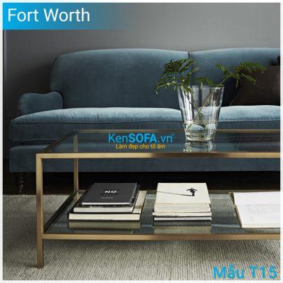 Bàn sofa T15 Fort Worth mặt kiếng 2 tầng