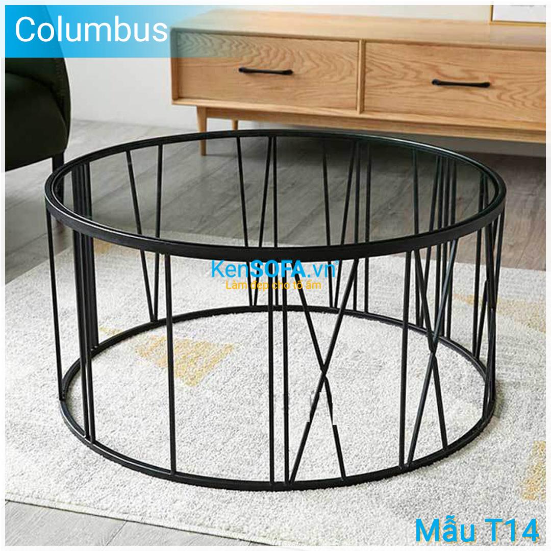 Bàn sofa T14 Columbus - Mặt kiếng tròn với vòng đồng hồ với 12 chữ số độc đáo