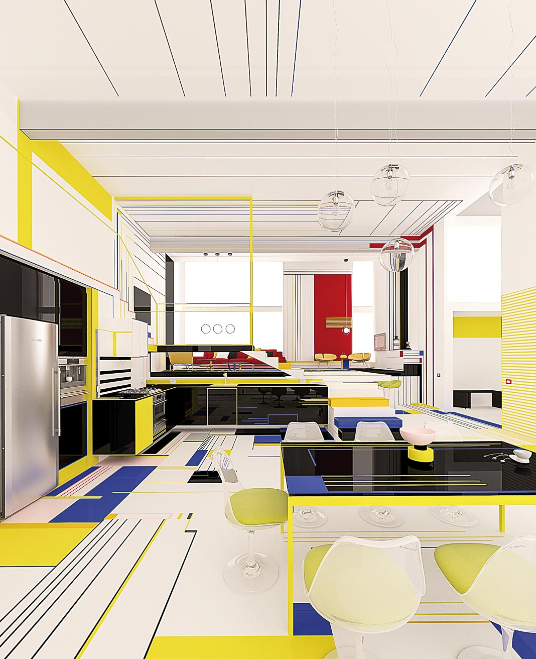 Sống với sắc màu Piet Mondrian