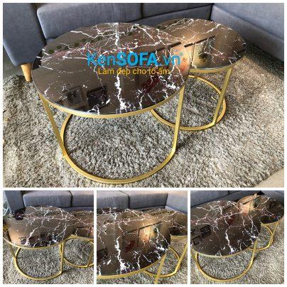 Cặp bàn lồng chân tròn khung vàng kiếng giả đá