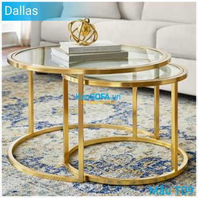 Bàn sofa T09 Dallas mặt kiếng