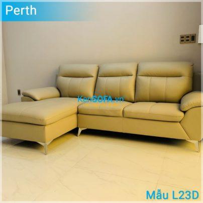 Sofa góc cao cấp L23D Perth da Hàn Quốc nhập khẩu