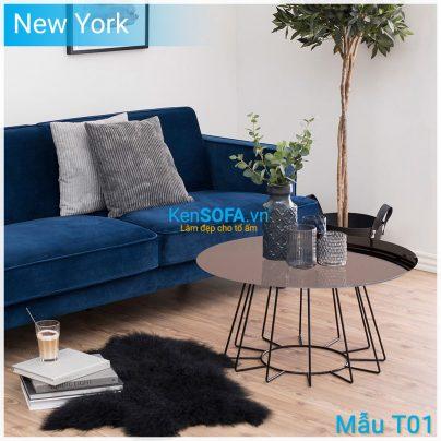 Bàn sofa T01 New York mặt kiếng