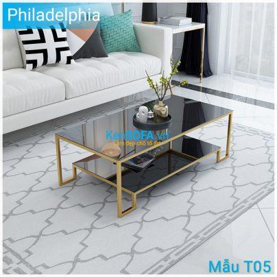 Bàn sofa T05 Philadelphia mặt kiếng 2 tầng