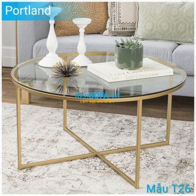Bàn sofa T26 Portland mặt kiếng