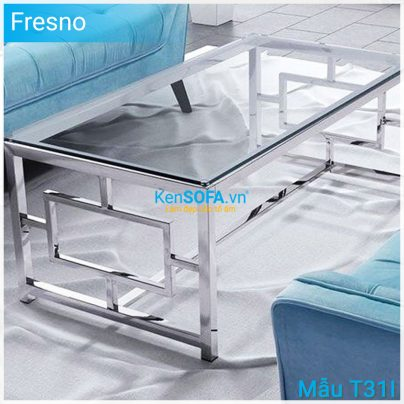 Bàn sofa T31I Fresno INOX mặt kiếng