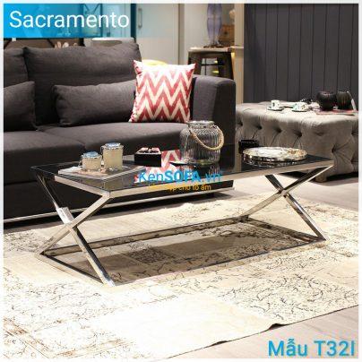 Bàn sofa T32I Sacramento INOX mặt kiếng