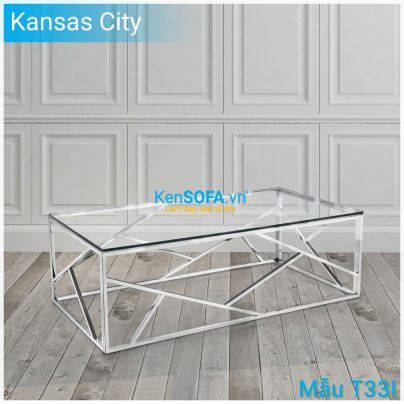 Bàn sofa T33I Kansas City INOX mặt kiếng