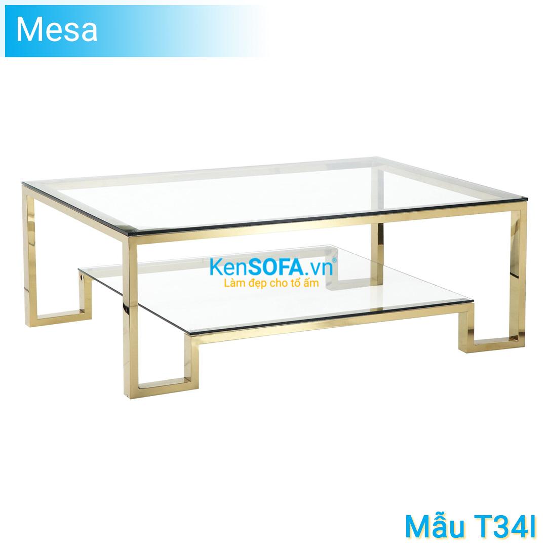 Bàn sofa T34IV Mesa GOLD INOX mặt kiếng 2 tầng