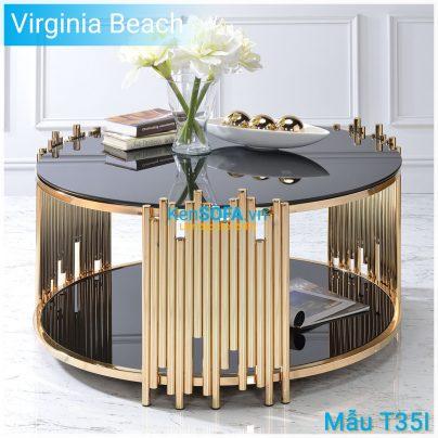 Bàn sofa T35I Virginia Beach GOLD INOX mặt kiếng 2 tầng