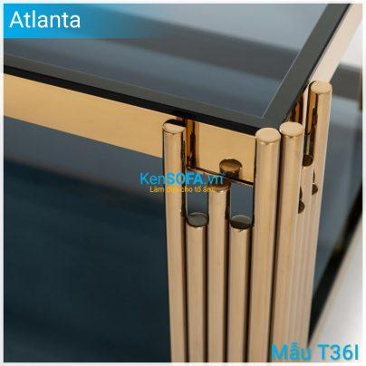 Bàn sofa T36I Atlanta GOLD INOX mặt kiếng 2 tầng