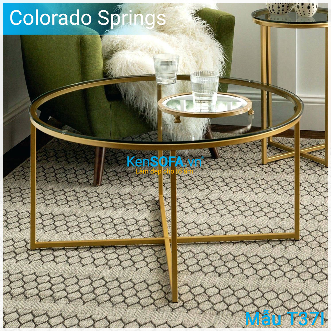 Bàn sofa T37I Colorado Springs GOLD INOX mặt kiếng