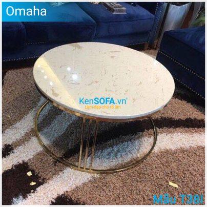 Bàn sofa T38I Omaha GOLD INOX mặt đá