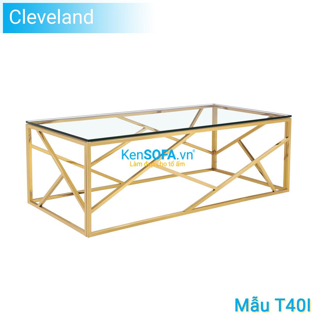 Bàn sofa T40I Cleveland GOLD INOX mặt kiếng