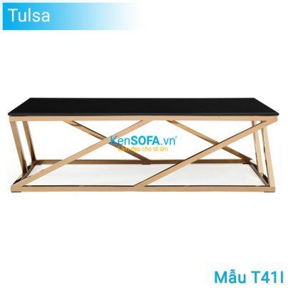 Bàn sofa T41I Tulsa GOLD INOX mặt kiếng