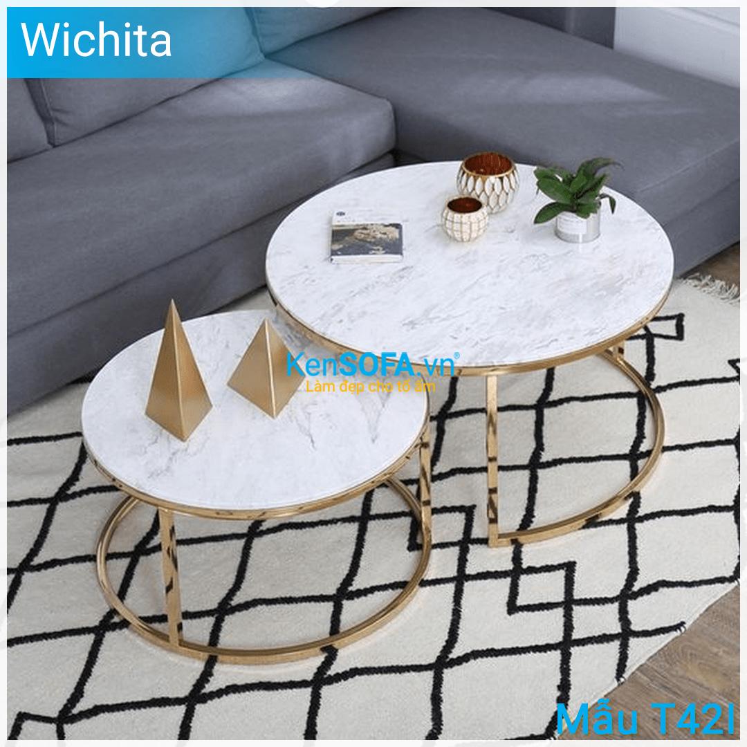 Bàn sofa T42I Wichita GOLD INOX cặp bàn mặt đá