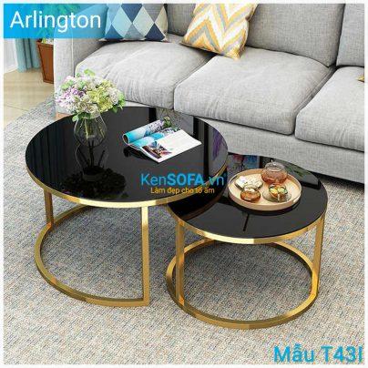 Bàn sofa T43I Arlington GOLD INOX cặp bàn mặt kiếng