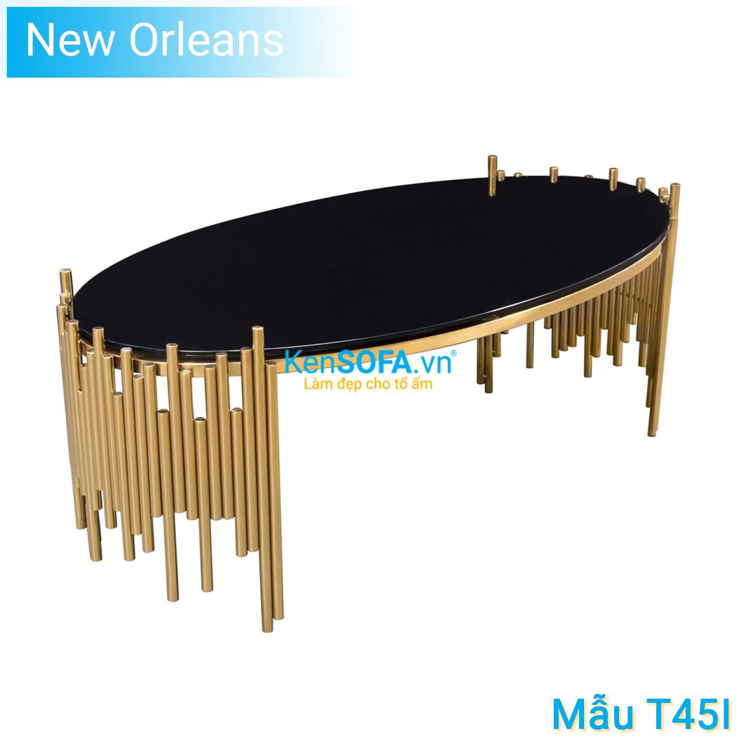 Bàn sofa T45I New Orleans GOLD INOX mặt kiếng