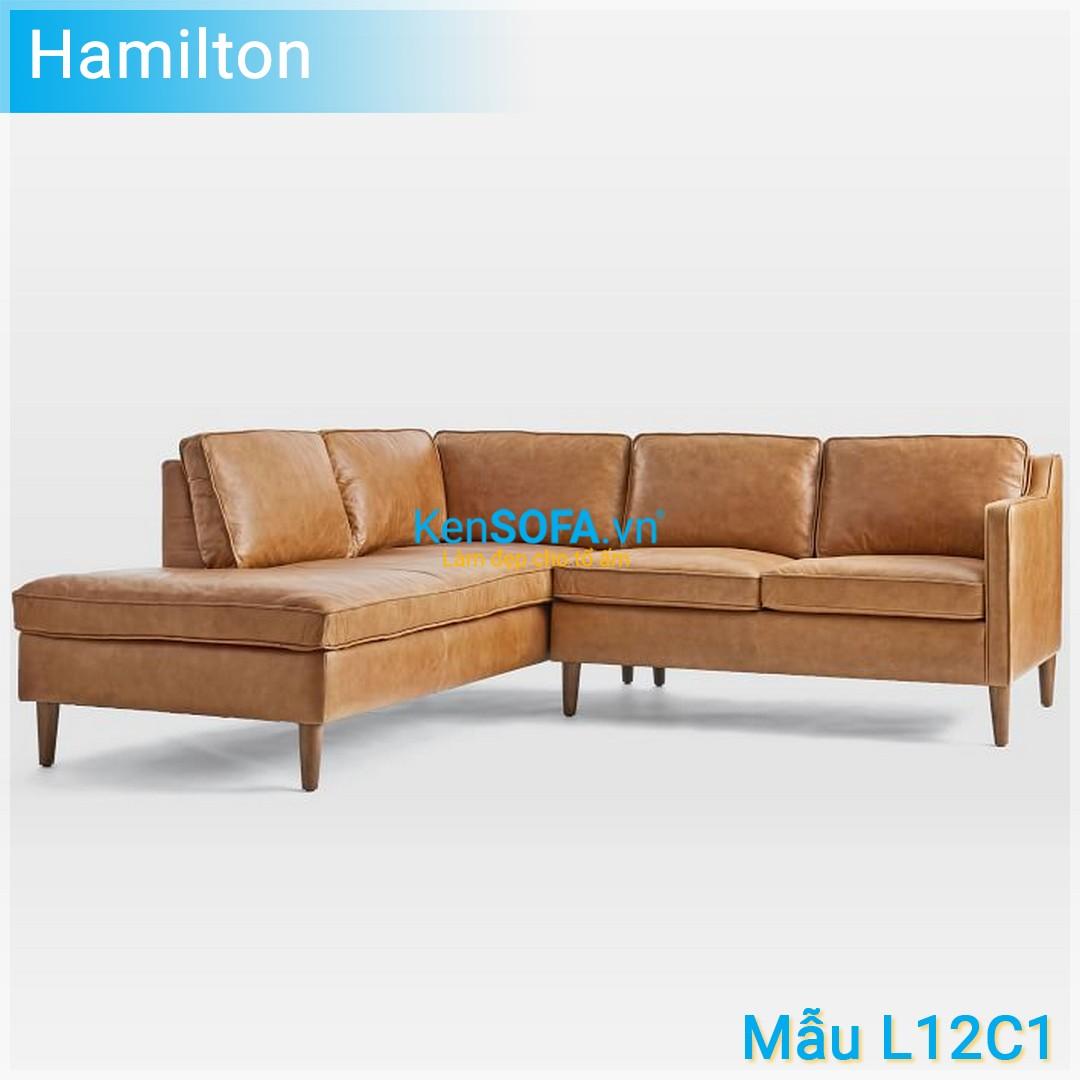 Sofa góc L12C1 Hamilton 3 chỗ da
