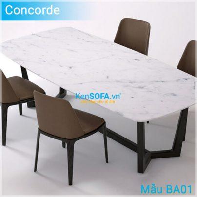 Bộ bàn ăn BA01 Concorde mặt đá 4 ghế Grace không tay