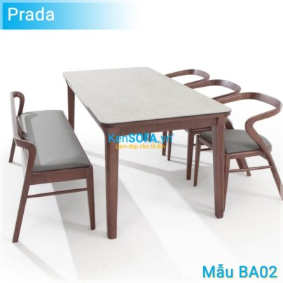 Bộ bàn ăn BA02 Prada mặt đá 2 ghế ăn và 1 bench dài