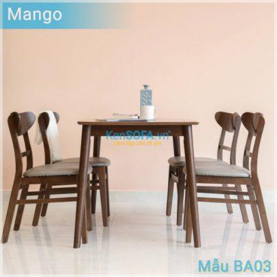 Bộ bàn ăn BA03 Mango 4 ghế màu nâu walnut