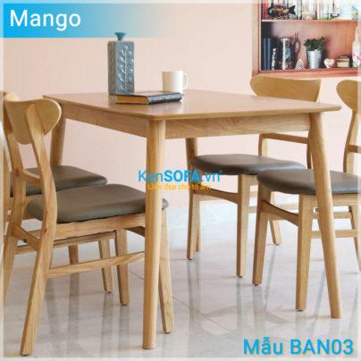 Bộ bàn ăn BA03 Mango 4 ghế màu gỗ tự nhiên