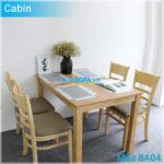 Bộ bàn ăn BA04 Cabin 4 ghế màu gỗ tự nhiên